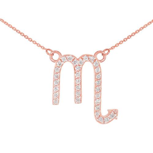 14K Rose Gold Scorpio Zodiac Sign Diamond Necklace