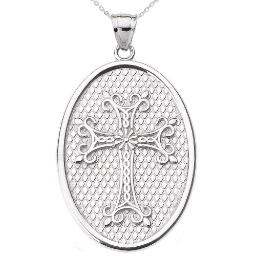 White Gold Armenian Apostolic Cross Oval Pendant Necklace