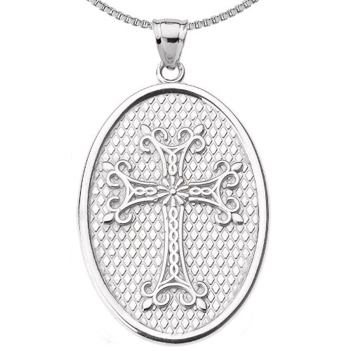 Sterling Silver Armenian Apostolic Cross Oval Pendant Necklace
