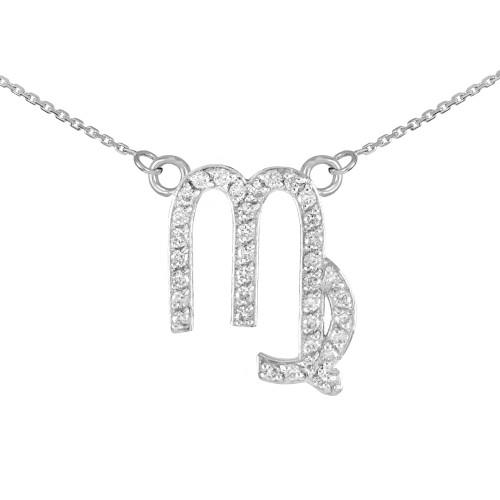 14K White Gold Virgo Zodiac Sign Diamond Necklace