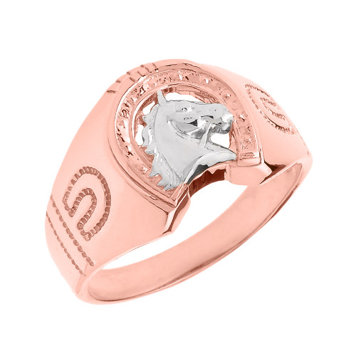 Rose Gold Horseshoe with Horse Head Men's Ring