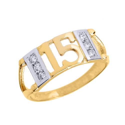 Yellow Gold Sweet 15 Años Quinceanera CZ Ring