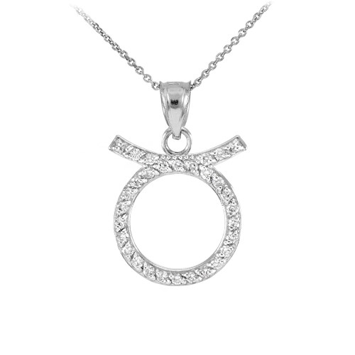 14K White Gold Taurus Zodiac Sign Diamond Pendant Necklace