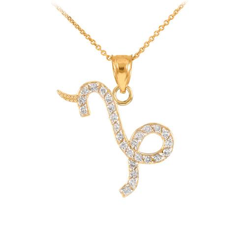 14K Gold Capicorn Zodiac Sign Diamond Pendant Necklace