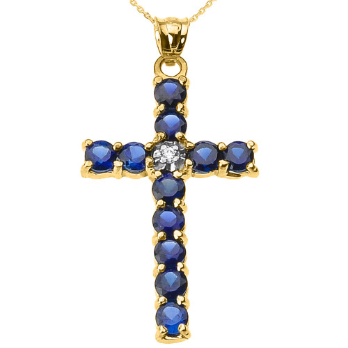 10k Yellow Gold Diamond and Blue CZ Cross Pendant Necklace
