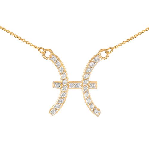 14K Gold Pisces Zodiac Sign Diamond Necklace