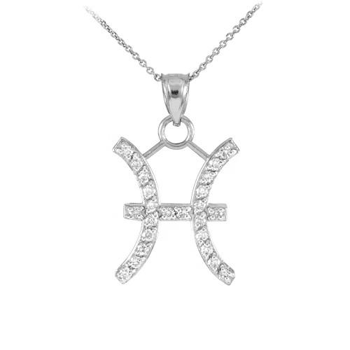14K White Gold Pisces Zodiac Sign Diamond Pendant Necklace