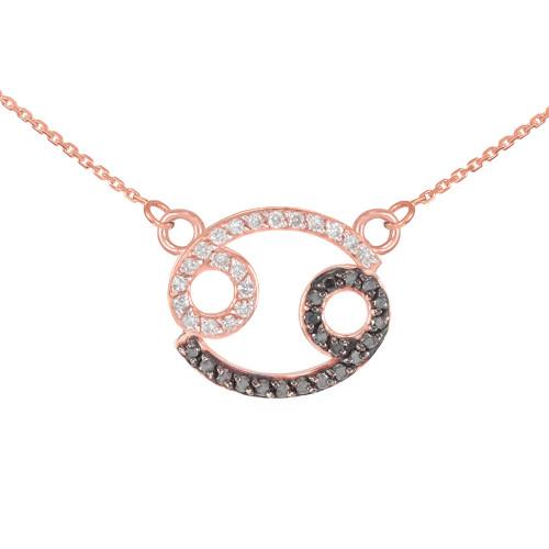 14K Rose Gold Cancer Zodiac Sign Black Diamond Necklace