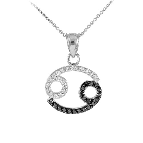 14K White Gold Cancer Zodiac Sign Black Diamond Pendant Necklace