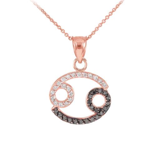14K Rose Gold Cancer Zodiac Sign Black Diamond Pendant Necklace