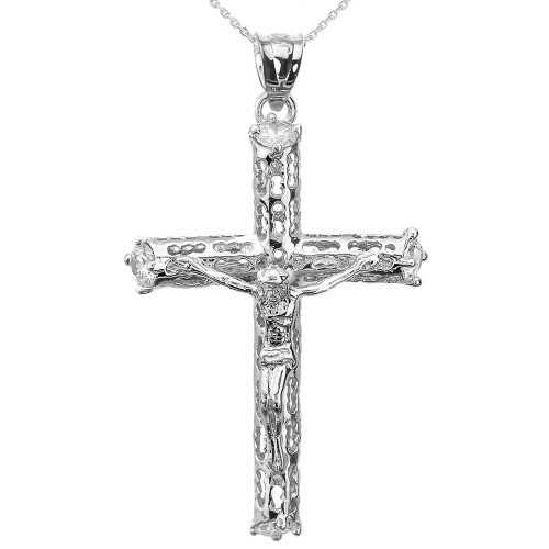 Sterling Silver CZ Crucifix Pendant Necklace