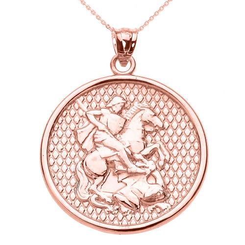 Rose Gold Saint George Pendant Necklace