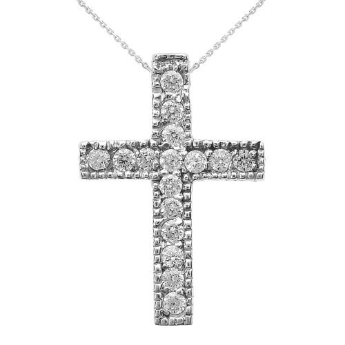 White Gold Milgrain Edged Cubic Zirconia Cross Pendant Necklace (Small)