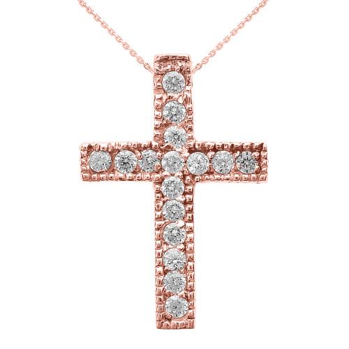 Rose Gold Milgrain Edged Cubic Zirconia Cross Pendant Necklace (Small)