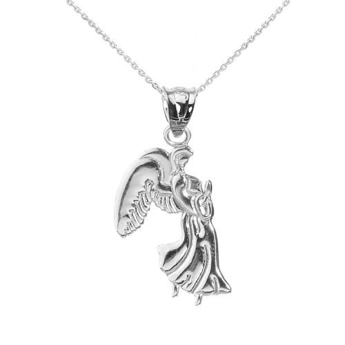 White Gold Praying Angel Pendant Necklace