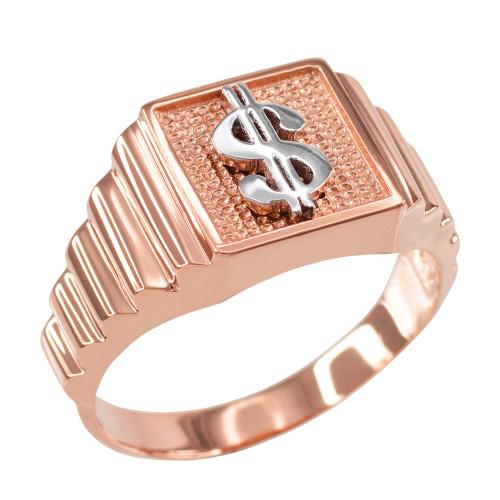 Rose Gold Dollar Sign Square Mens Ring