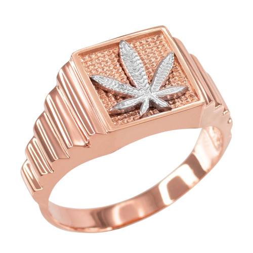 Rose Gold Marijuana Square Mens Ring