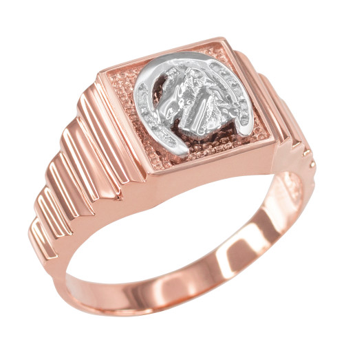 Rose Gold Lucky Horseshoe Square Mens Ring