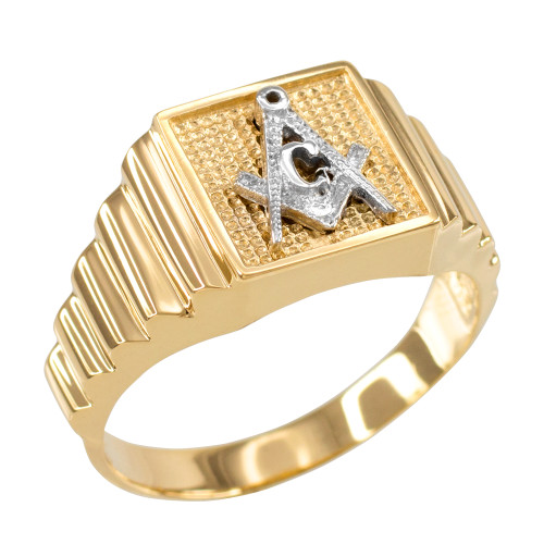 Gold Masonic Square Mens Ring