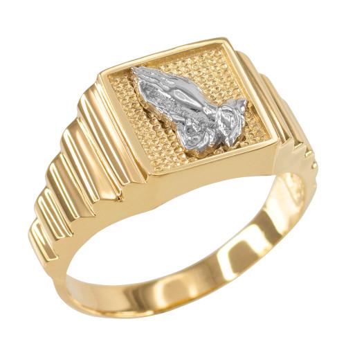 Gold Praying Hands Square Mens Ring
