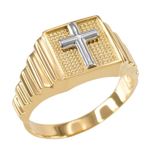 Gold Cross Square Mens Ring