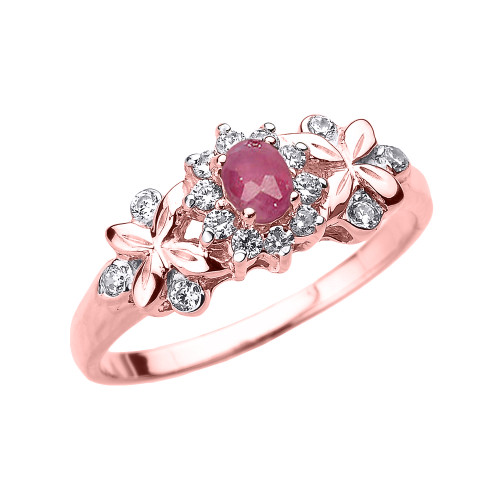 Rose Gold Oval Ruby and Diamond Engagement Ring