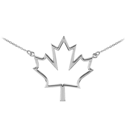 14k White Gold Open Design Maple Leaf Charm Necklace
