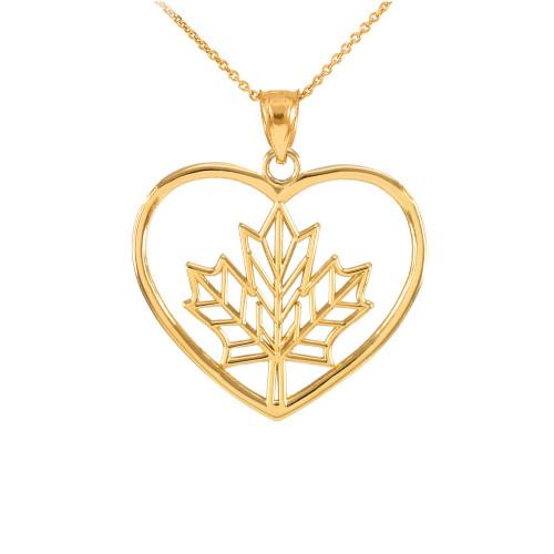 Gold Maple Leaf Open Heart Pendant Necklace