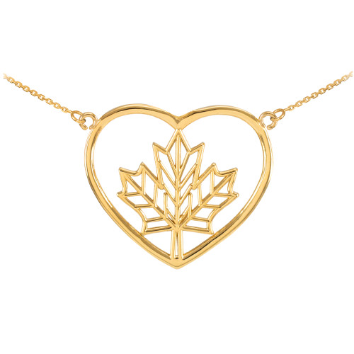 14k Yellow Gold Maple Leaf Open Heart Necklace