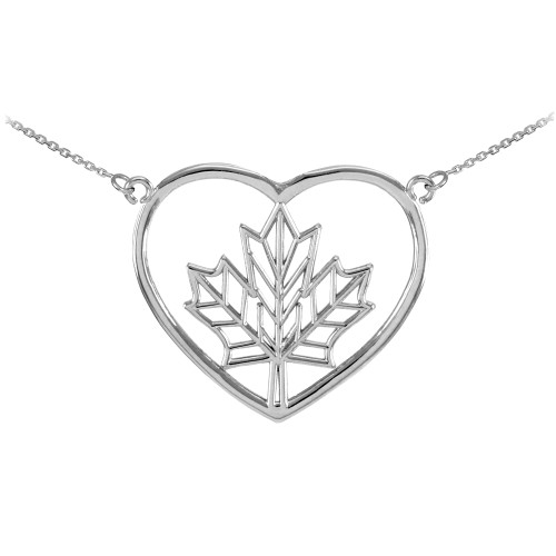 14k White Gold Maple Leaf Open Heart Necklace