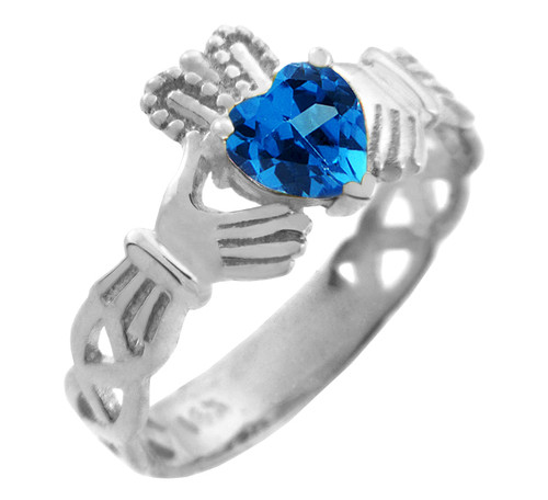 Silver Claddagh Trinity Band with Blue CZ Heart