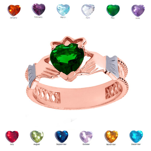 Rose Gold Lab Created Green CZ Celtic Design Claddagh Proposal Ring