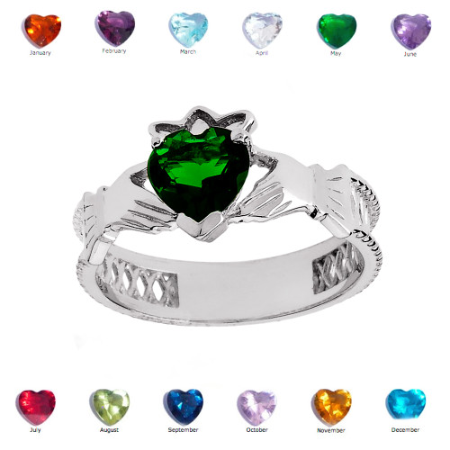 White Gold Lab Created Green CZ Celtic Design Claddagh Proposal Ring