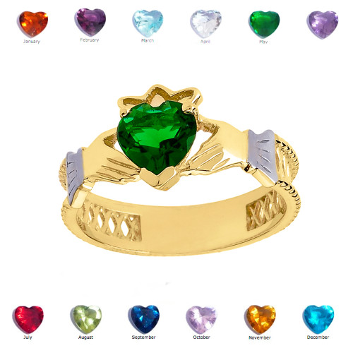Yellow Gold Lab Created Green CZ Celtic design Claddagh Proposal Ring