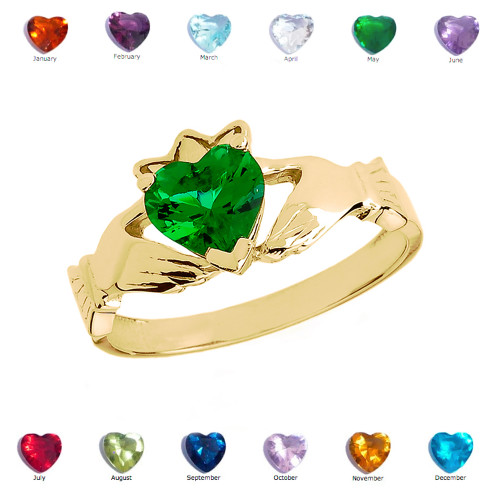 Yellow Gold Green CZ Claddagh Proposal Ring