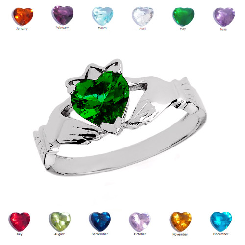 White Gold Green CZ Claddagh Proposal Ring