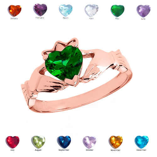 Rose Gold Green CZ Claddagh Proposal Ring