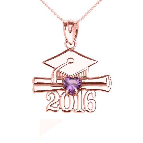 Rose Gold Heart Purple CZ FebruaryBirthstone Class of 2016 Graduation Pendant Necklace