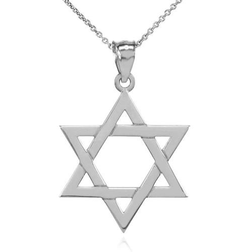 Solid Sterling Silver Jewish Star of David Pendant Necklace (Medium)