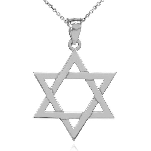 Solid Sterling Silver Jewish Star of David Pendant Necklace (Large)