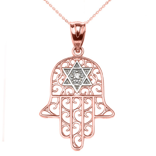 Rose Gold Hamsa Hand With Star of David Pendant Necklace