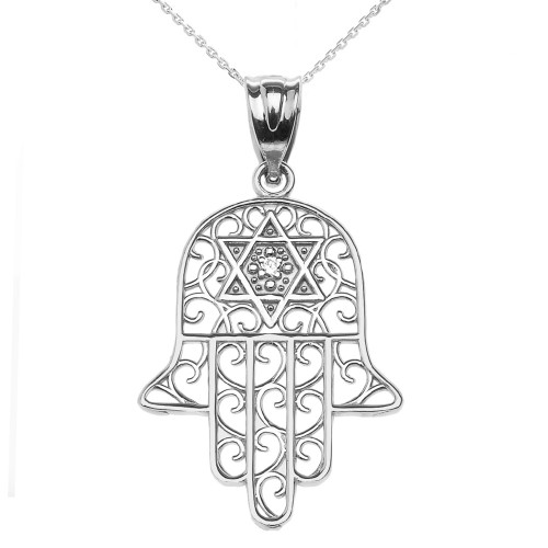 White Gold Hamsa Hand With Star of David Pendant Necklace