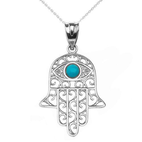 White Gold Hamsa Hand With Hamsa Hand With Turquoise Evil Eye Pendant Necklace