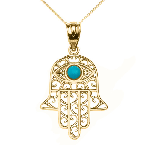 Yellow Gold Hamsa Hand With Hamsa Hand With Turquoise Evil Eye Pendant Necklace