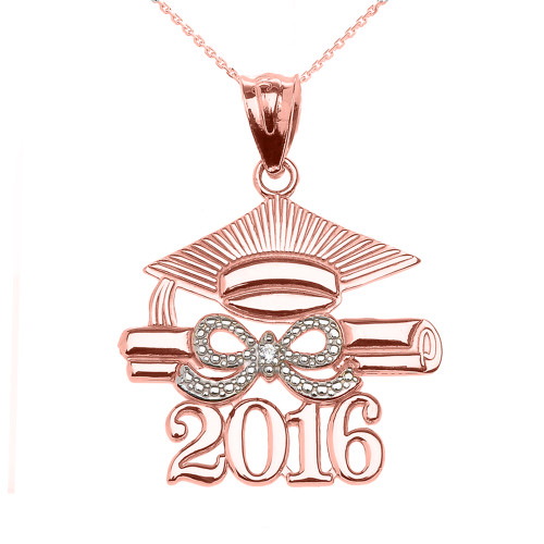Rose Gold Class of 2016 Graduation Cap Pendant Necklace with Diamond