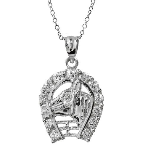 Sterling Silver CZ Horseshoe with Horse Head Pendant Necklace