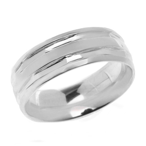 White Gold Comfort Fit Modern Wedding Band