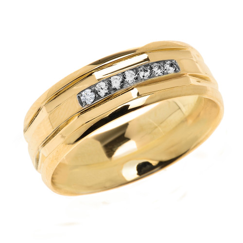 Yellow Gold Comfort Fit Modern Wedding Band with Diamonds