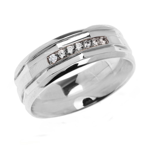 White Gold Comfort Fit Modern Wedding Band with Diamonds