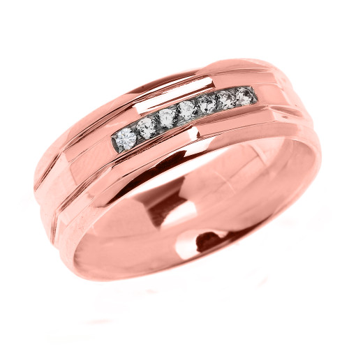 Rose Gold Comfort Fit Modern Wedding Band with Diamonds
